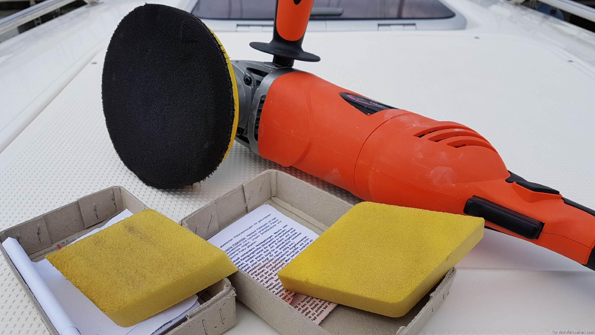 yachten polieren ohne poliermittel trockenpolitur mit einem diamantpad. Black Bedroom Furniture Sets. Home Design Ideas